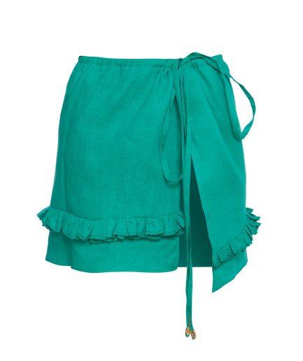 Green Linen Skirt